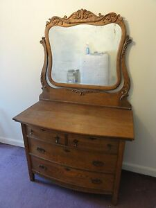 19th Cen Antique American Golden Oak Dresser With Mirror