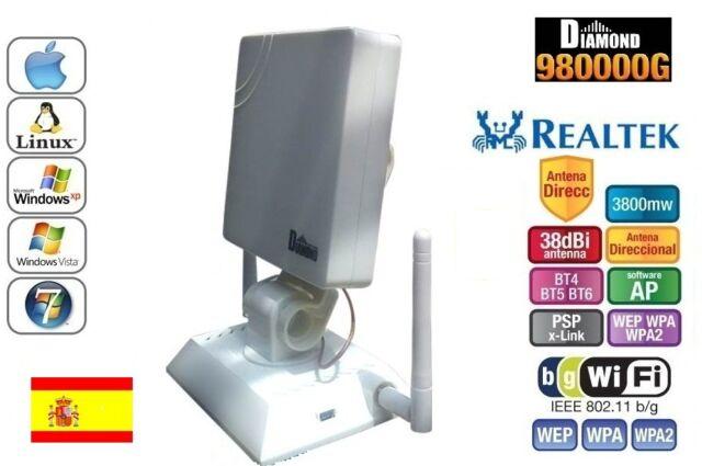 ANTENA USB PANEL WIFI DIAMOND 38dbi 3800mw REALTEK 8187L,LARGO ALCANCE, 3,8W