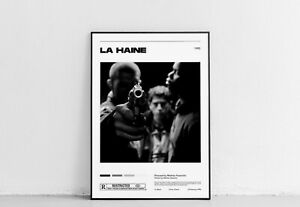 La Haine Mathieu Grand Vintage Rétro Art Imprimé, minimaliste movie poster, W