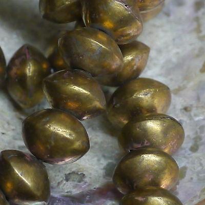10 x urige Metallperlen Kupfer hartvergoldet handgeschmiedet Tuareg Beads ca11mm