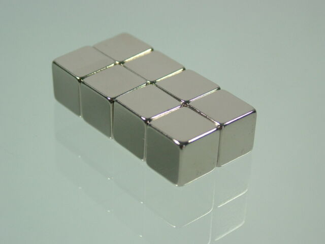 "8pcs 10*10*10mm N52 block Neodymium permanent super strong Magnet 2/5""*2/5""*2/5"""