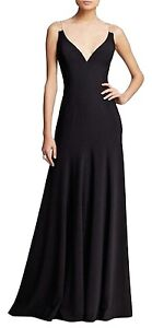 41761da3f5f Vera Wang V-Neck Illusion Stretch Crepe Silk Blend Black Long Formal ...