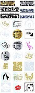 Designer-Wedding-Stickers-Hens-night-Labels-Seals-sticker-Gold-Silver-x-100