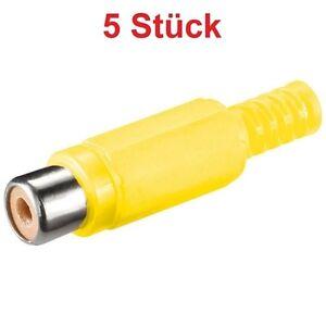Video-Chinch-Cinch-RCA-Stecker-Buchse-Kupplung-gelb-zum-selbst-loeten-Loetversion