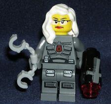 LEGO Space POLICE Woman MINIFIGURE Glasses/Handcuffs/White Hair/ Shooting Gun