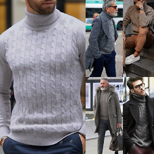 Men/'s Warm Knitted Sweater Thick Turtle High Neck Pullover Jumper Knitwear Tops