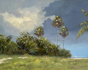 Florida-Coastal-Beach-Landscape-Painting-Original-By-Karim-Gebahi