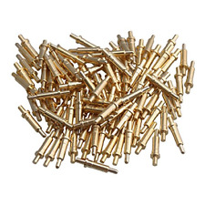 Mxfans 100x Gold Plated 9mm Long Copper Needles Thimble Probes Spring Pogo Pin