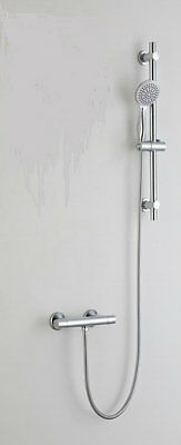 Thermostatic Brass Bar Mixer Shower Valve Bottom Outlet  Riser Rail Round K1