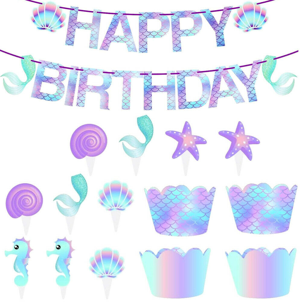 50pcs Mermaid Paper Colorful Decorative Cake Decors Cupcake Inserts Cake Toppers