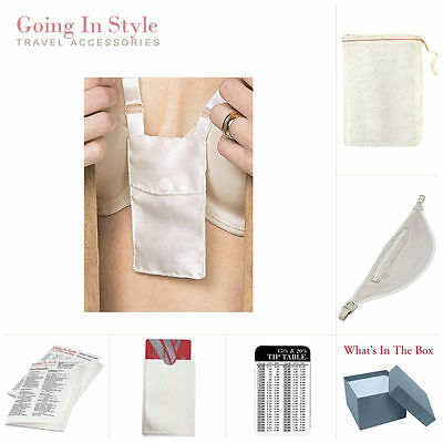 Bra Stash and Womens Money Belt w/ RFID Sleeve, Tip Table Set | Going In Style