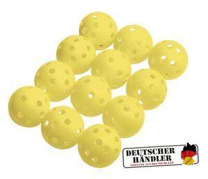 12-gelbe-Airballs-Ubungsbaelle-Luftbaelle-Lochbaelle-fuer-den-Garten