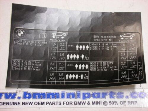 "BMW E65 E66 745i 750i Etiqueta /""la presión de los neumáticos/"" 71246776307"