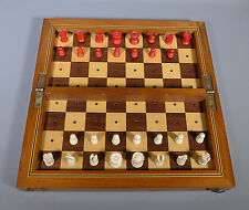 VINTAGE TRAVELLING FOLDING CHESS SET AND BOARD HAMLEY'S OXFORD ST. CIRCA 1910