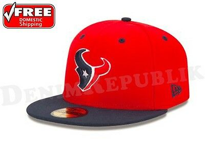 New Era 5950 HOUSTON TEXANS 2 Tone Team Cap NFL Fitted Hat 2Tone 59Fifty Red