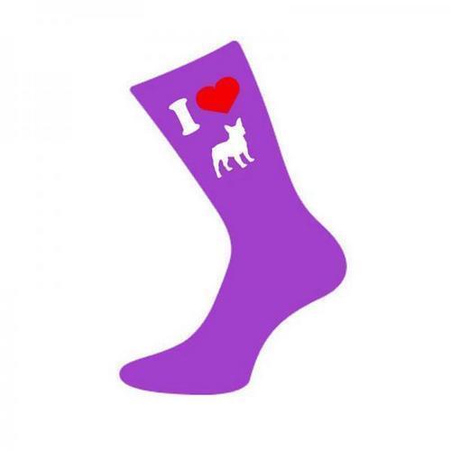 I Love Heart French Bulldogs Womens Ladies Purple Novelty Socks UK 4-8