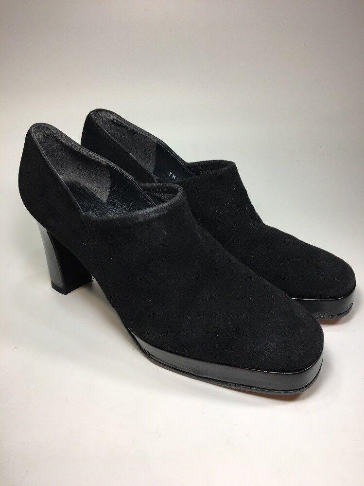 Stuart Weitzman  545 Black Suede Booties Heels BRAND NEW Soles Womens Size 7.5 B