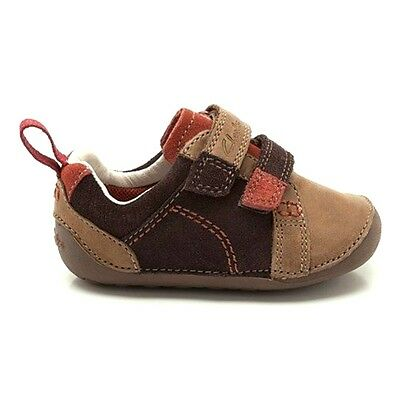Clarks Tiny Soft Infant Kids Baby UK 2 H Brown Leather Prewalker First Shoes NEW