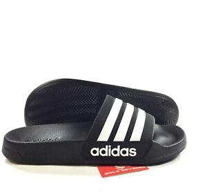 92744dd4fb50 New adidas Men s Adilette CloudFoam Slides Black Sandals Sport Beach ...