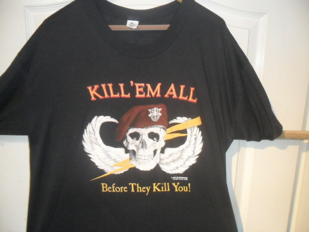 Vintage 3D shirt Kill em All 1988 USA original size XL Enterprises  Rare. SALE