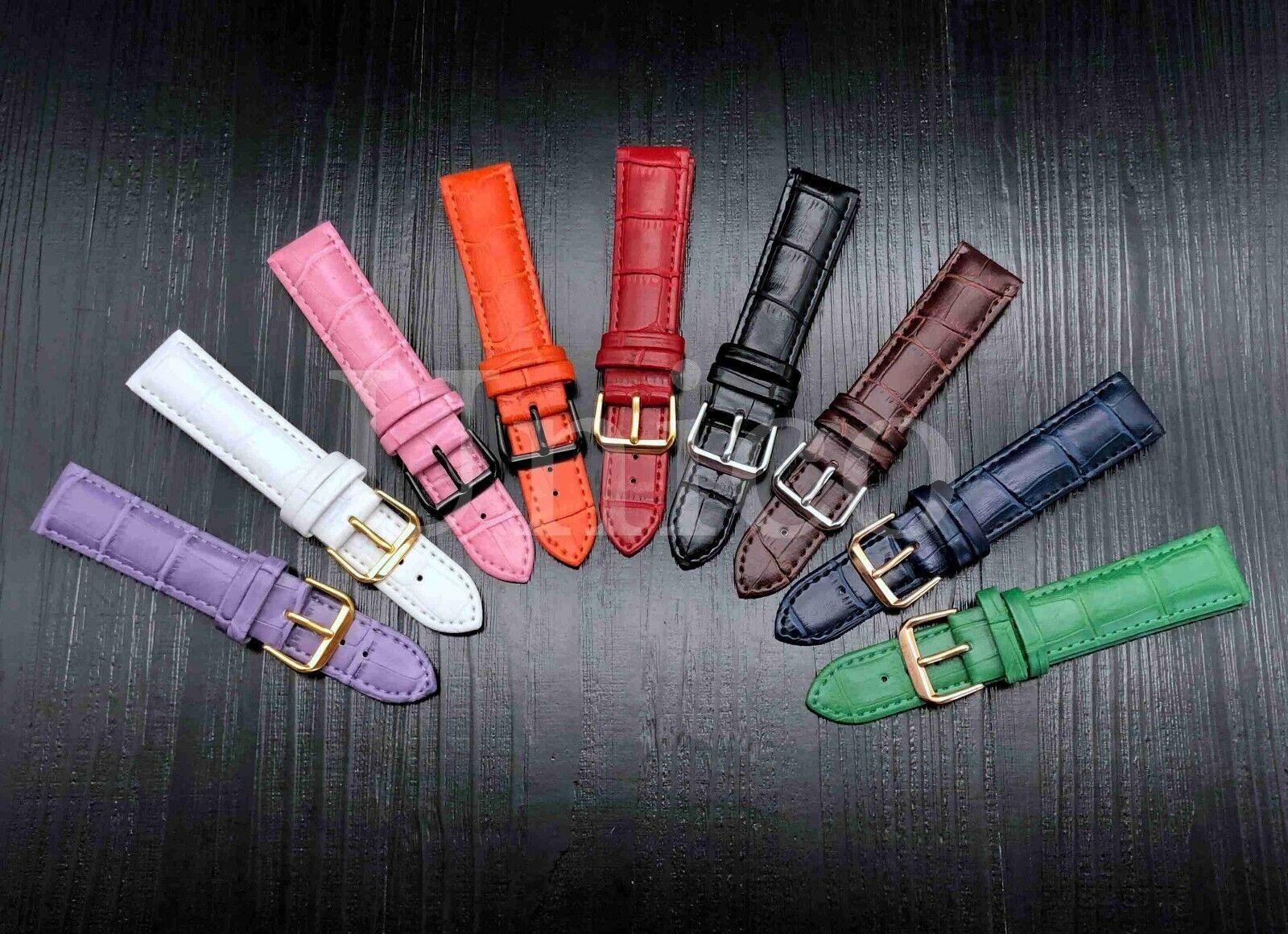 iwatch: 12 – 22 MM Watch Band Strap Genuine Leather Iwatch Alligator Wrist Black Buckle
