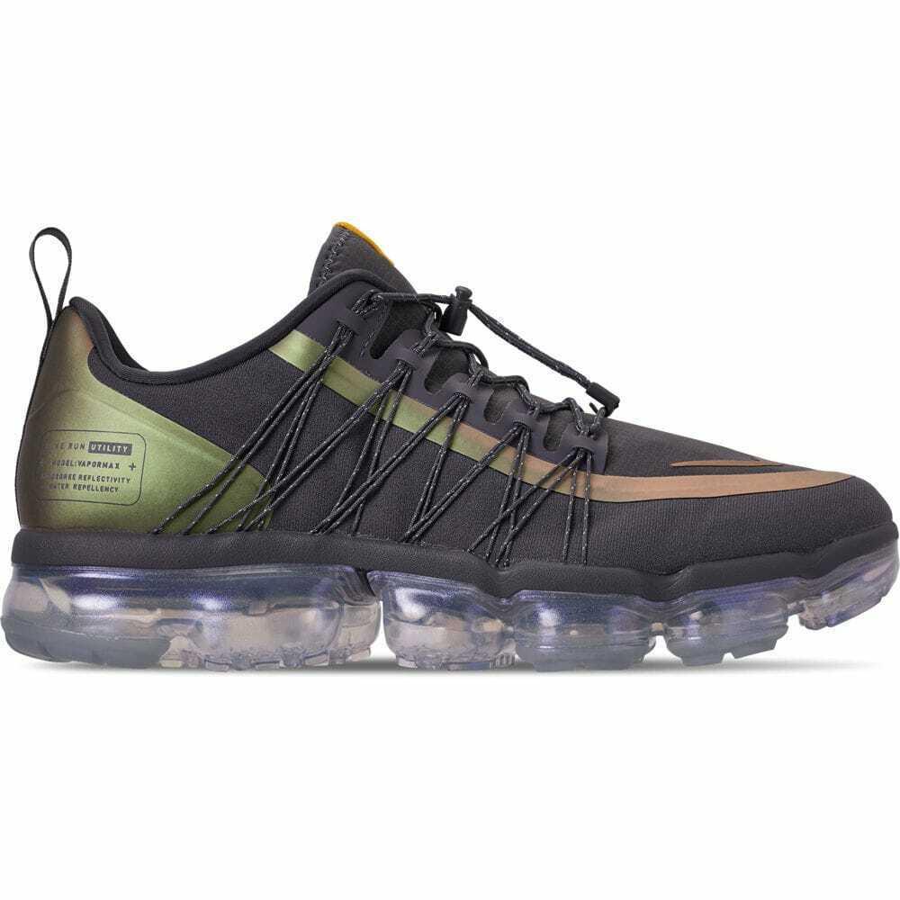 Men's Nike Air VaporMax Run Utility Running Dark Grey yellow Black AQ8810 008