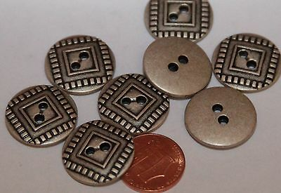 """8 Antiqued Silver Tone Metal Buttons Black Accent 13/16"""" 21mm # 5804"""