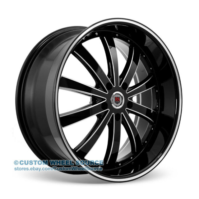 "22"" Redsport RSW77 Black Wheel & Tire Package for Chevy Dodge Ford GMC Lincoln"