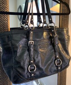 EUC-COACH-Large-Black-Patent-Leather-Tote-Purse