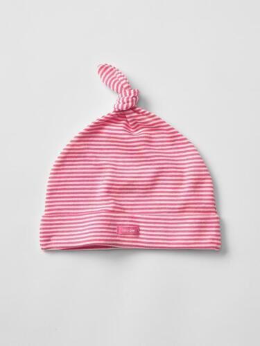 GAP Baby Girls Size 0-3 Months Pink White Striped Cotton Knot Hat Beanie Cap