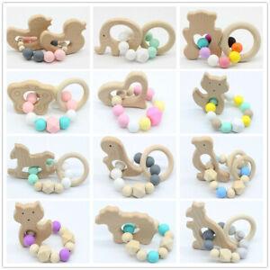 Animale-in-legno-Teether-Baby-dentizione-Bracciale-Nome-di-silicone-Perline-Sonaglio-Toys