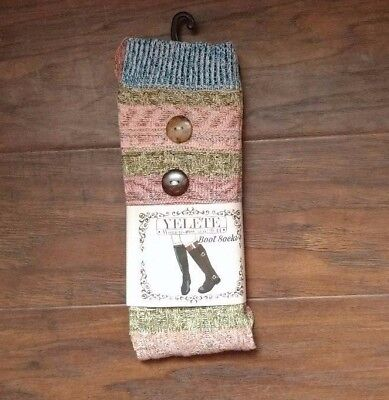 Women/'s blue striped boot socks with buttons by Yelete size 9-11 NEW