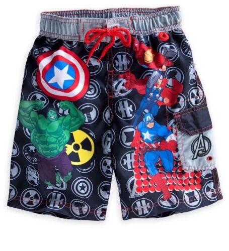 Disney Store Marvel Avengers Hulk Iron Man Thor Trunks Swim Shorts Suit Size 4