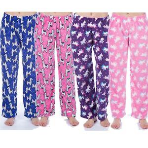 Girls-Kids-Unicorn-Llama-Fleece-Lounge-Pants-Pyjama-Bottoms-Age-5-13