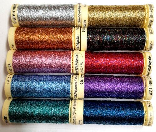 Metallic Thread Gutermann Light Blue Sparkling Effect Glitter Thread 50m Reel