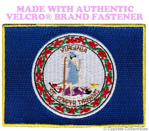 VIRGINIA STATE FLAG PATCH EMBROIDERED SYMBOL APPLIQUE w// VELCRO® Brand Fastener