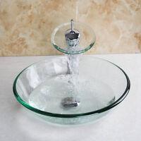 Uk Bath Clear Tempered Glass Basin Sink W/ Taps Brass Faucet Waterfall Mixer