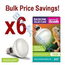 6 x Arcadia Reptile 75w Basking Solar Floodlight E27 Flood Bulb Lamp - SBF75