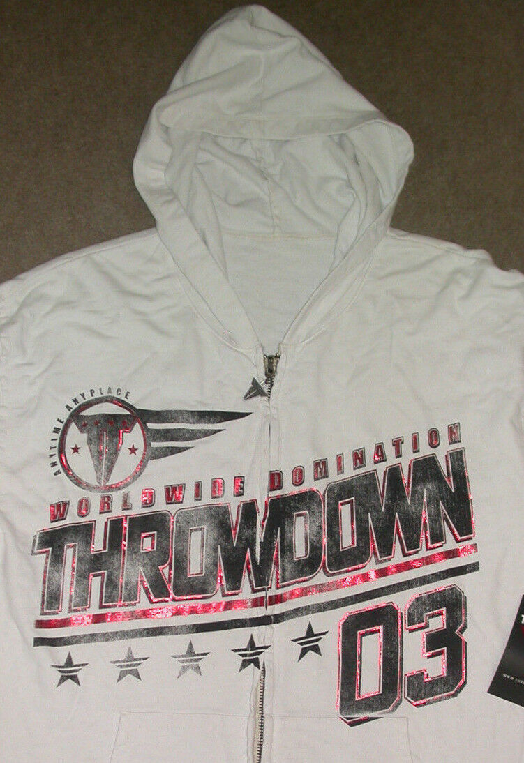 THROWDOWN by affliction ZIP UP HOODED SWEATSHIRT LARGE L UFC BJJ GYM MMA K1 NEW