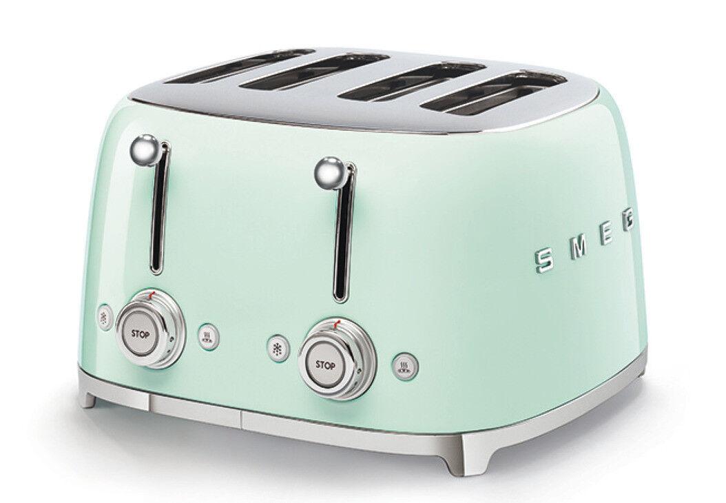 nouveau SMEG 50's Retro Style 4 Slice Toaster 4 Slot- vert