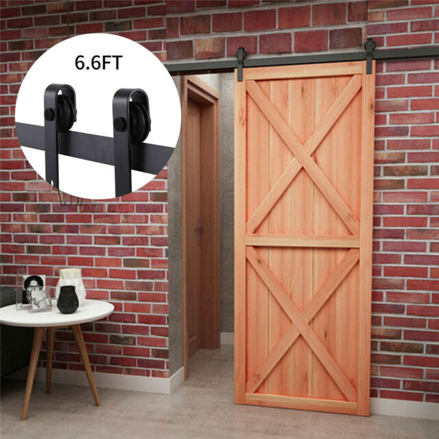 A-Smart/® Black 6.6 Ft Steel Sliding Barn Door Hardware Kit Rail Track Set Fit Wooden Wall and Concrete Wall