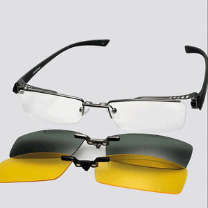 Eyeglass Frame With Magnetic Clip On Sunglasses : Magnetic 2pcs Clip on Half Rim Eyeglass Frame Night ...