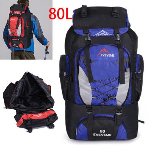 80L Camping Backpack Hiking Women Men Travel Outdoor Sport Rucksack Waterproof