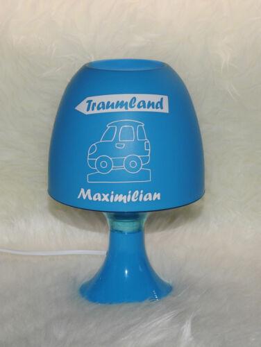 Baby Richtung Traumland Tischleuchte Kinderlampe mit Wunschname blau