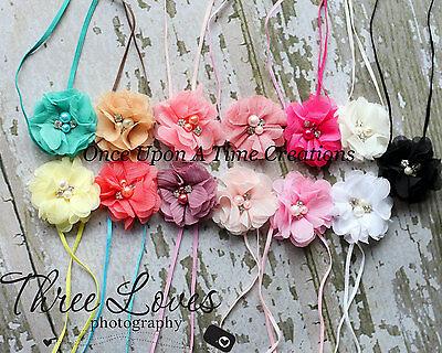 Petite Chiffon Flower Pearl Newborn Headband Bow - Baby Girl Hairbow You Choose