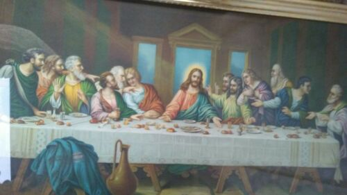 "vintage print ""Last Supper"" 18x32 inches"