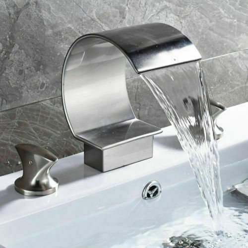 LED Waterfall Bathroom Faucet Widespread Sink Tub Mixer Tap