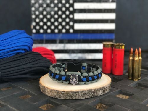 Police Shield Tactical Thin Blue LineParacord Bracelet Size Medium 6-7in Wrist