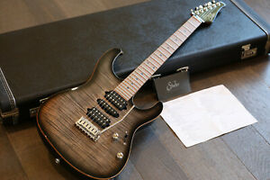 Suhr Modern Plus Double-Cut Trans Charcoal Burst Roasted Neck HSH +OHSC & Papers
