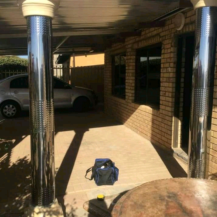 Pillars cover stainless steel & Gutters stainless steel